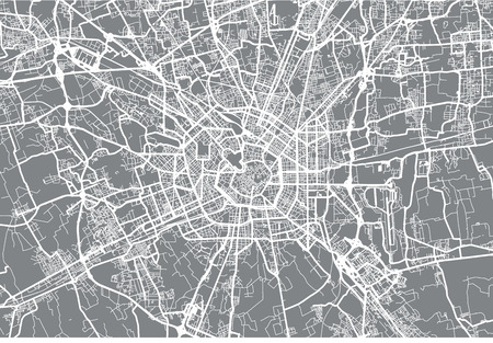 Urban vector city map of Milan, Italy