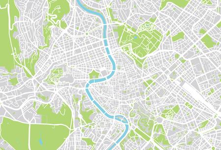 Plan de la ville de vecteur urbain de Rome, Italie