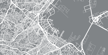 Urban vector city map of Yokohama, Japan