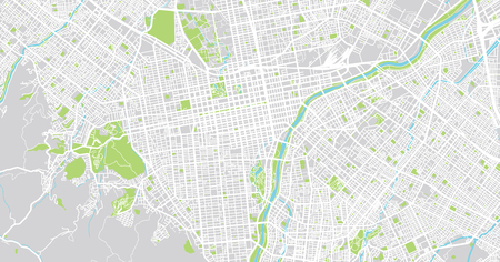 Urban vector city map of Sapporo, Japan Stock Photo