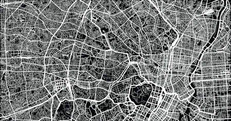 Urban vector city map of Tokyo, Japan Stock Photo