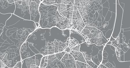 Urban vector city map of Canberra, Australia