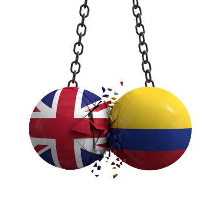 United Kingdom and Colombia flag political balls smash into each other. 3D Rendering