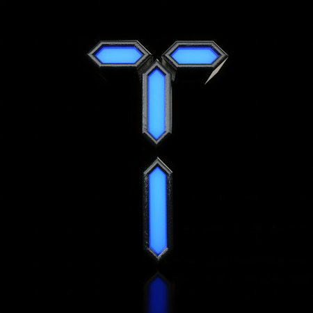 Letter T Futuristic blue neon led digital font. 3D Rendering Stock Photo