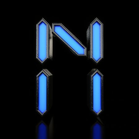 Letter N Futuristic blue neon led digital font. 3D Rendering