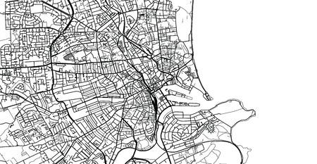 Urban vector city map of Aberdeen, Scotland