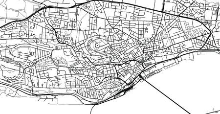 Urban vector city map of Dundee, Scotland