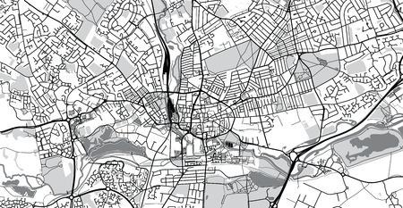 Urban vector city map of Northampton, England