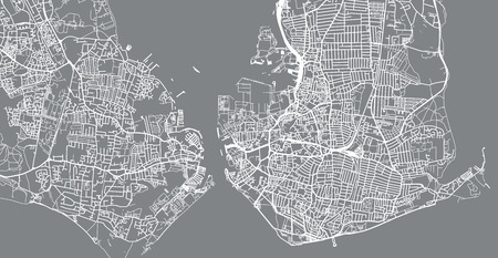 Urban vector city map of Portsmouth, England
