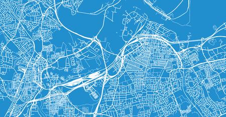 Urban vector city map of Middlesborough, England