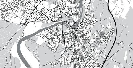 Urban vector city map of Lancaster, England Stock Photo