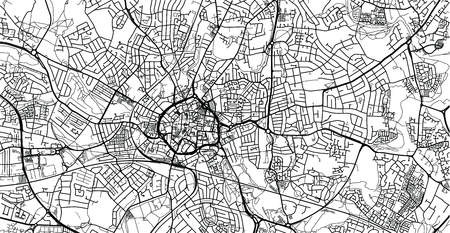 Urban vector city map of Coventry, England Illustration