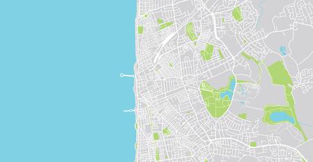 Urban vector city map of Blackpool, England