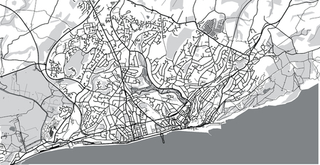 Urban vector city map of Hastings, England