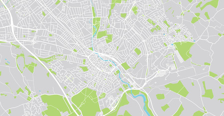 Urban vector city map of Luton, England