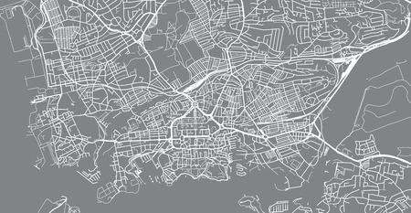 Urban vector city map of Plymouth, England