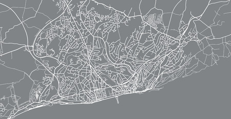 Urban vector city map of Hastings, England Stock Photo