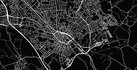 Urban vector city map of Luton, England