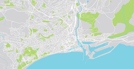 Urban vector city map of Swansea, Wales Imagens