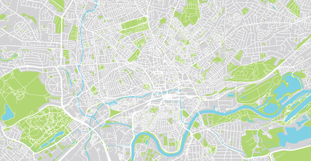 Urban vector city map of Nottingham, England Stock Photo