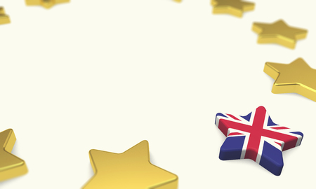 Brexit concept. European union yellow stars with great britain union jack flag. 3D Rendering