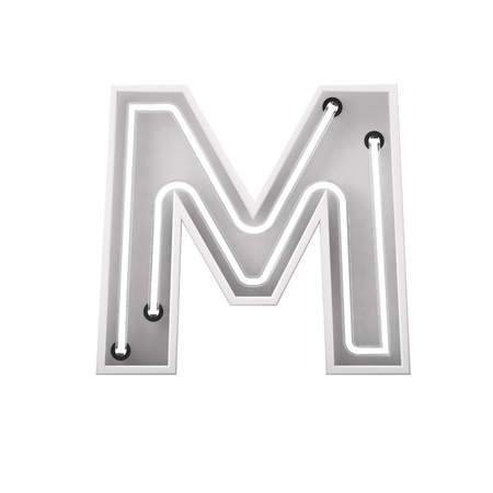 White neon style light letter M. Glowing neon Capital letter. 3D rendering Stock Photo