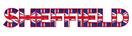 Sheffield city word made from union jack flag lettering. 3D Rendering