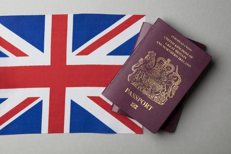United Kingdom passport with Union Jack Great Britain flag