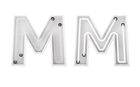 White neon style light letter M. On and Off neon lettering. 3D rendering