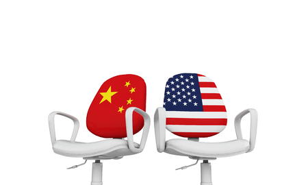 China and USA business chairs. Internationl relationship concept. 3D Rendering 스톡 콘텐츠
