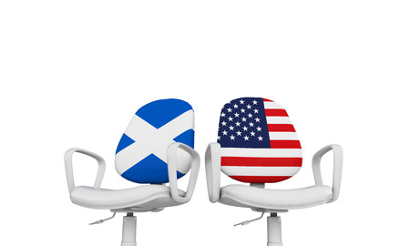 Scotland and USA business chairs. Internationl relationship concept. 3D Rendering
