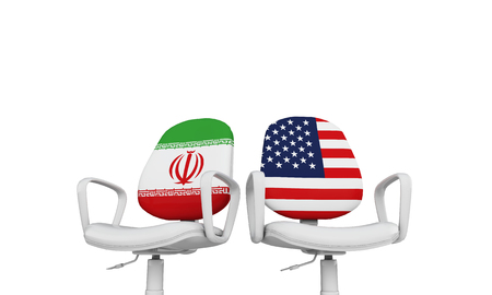 Iran and USA business chairs. Internationl relationship concept. 3D Rendering
