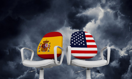 Spain and USA business chairs. Internationl relationship concept. 3D Rendering