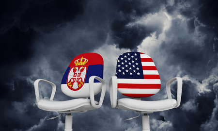 Serbia and USA business chairs. Internationl relationship concept. 3D Rendering