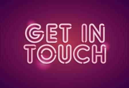 Get in touch neon employment sign Illusztráció