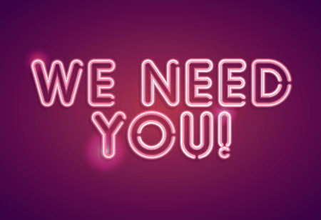 We need you neon employment sign 일러스트
