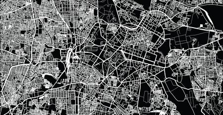 Mappa urbana vettoriale della città di Bangalore, India
