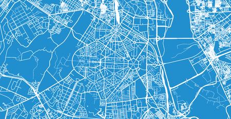 Urban vector city map of New Delhi, India Ilustrace