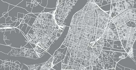 Urban vector city map of Kolkata, India