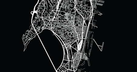Urban vector city map of Mumbai, India Vetores