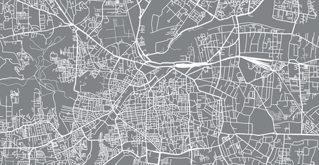 Urban vector city map of pune, India