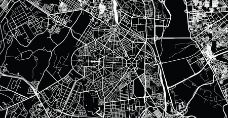 Urban vector city map of New Delhi, India