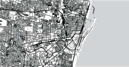 Urban vector city map of Chennai, India Vector Illustration