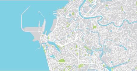 Urban vector city map of Colombo, Sri Lanka
