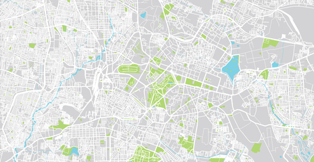 Urban vector city map of Bangalore, India