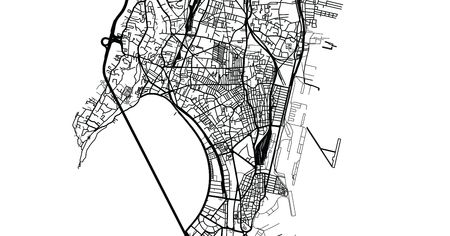 Urban vector city map of Mumbai, India Stok Fotoğraf