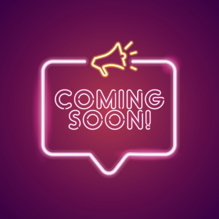 Coming soon neon light announcement poster template