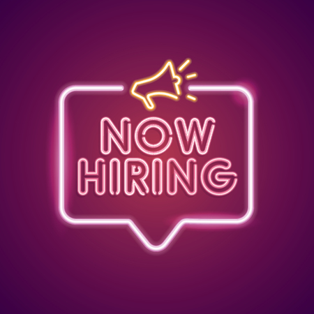 Now Hiring neon employment sign