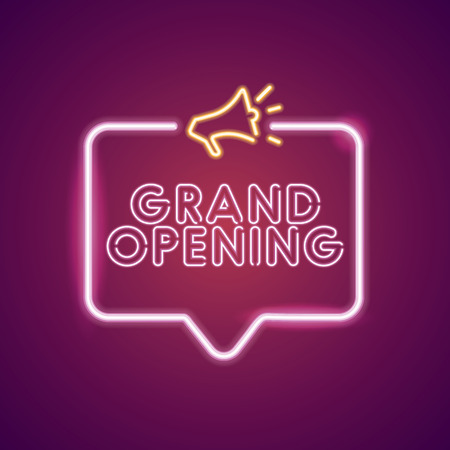 Grand opening neon light announcement poster template