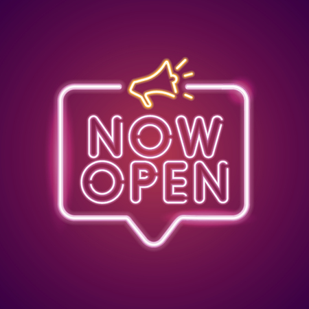 Now Open neon light announcement poster template